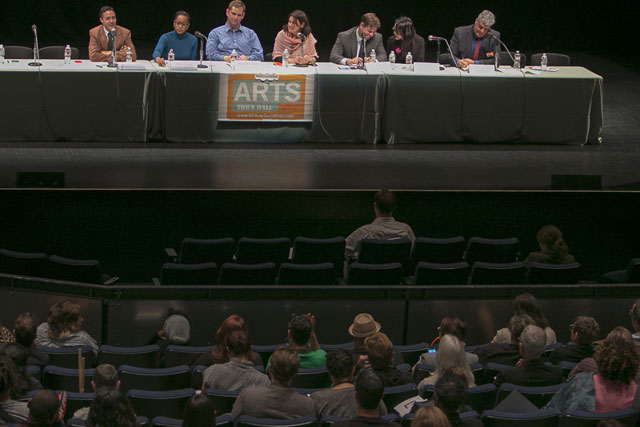 NPR's Laura Sydell (center) moderates 2014 Arts Town Hall