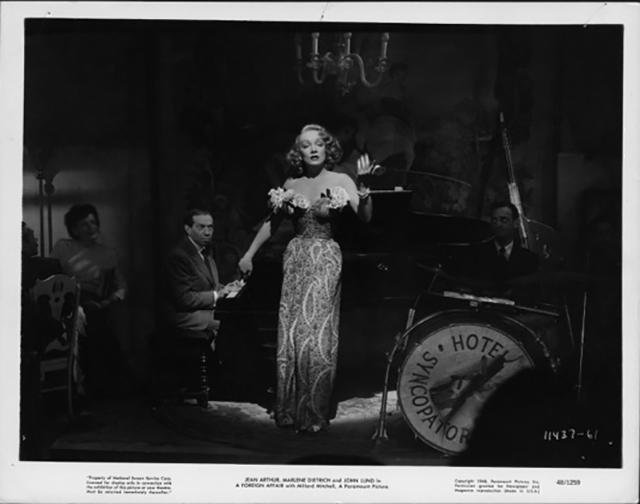A scene from Foreign Affair, where Marlene Dietrich sings