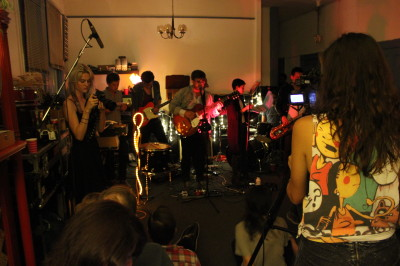 Pulse Music SF recording their monthly house show at Studio 352. Ella Cooley, far right, records on video.