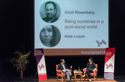 Author Kate Losse in conversation with Scott Rosenberg at Uncharted 2014. Photo Pete Rosos