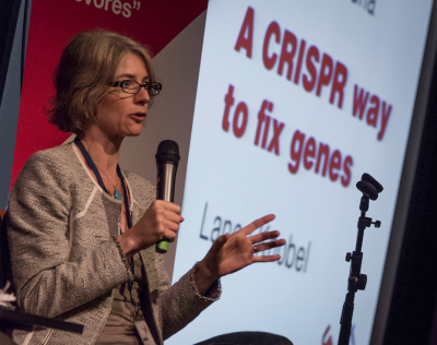Jennifer Doudna discusses her gene editing technique.  Photo by Pete Rosos