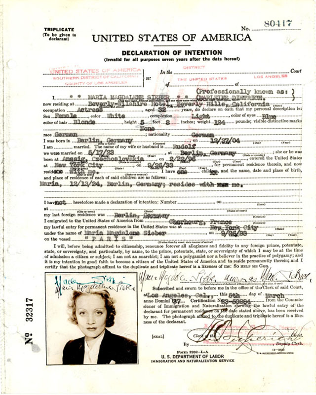 Marlene Dietrich's declaration of intention