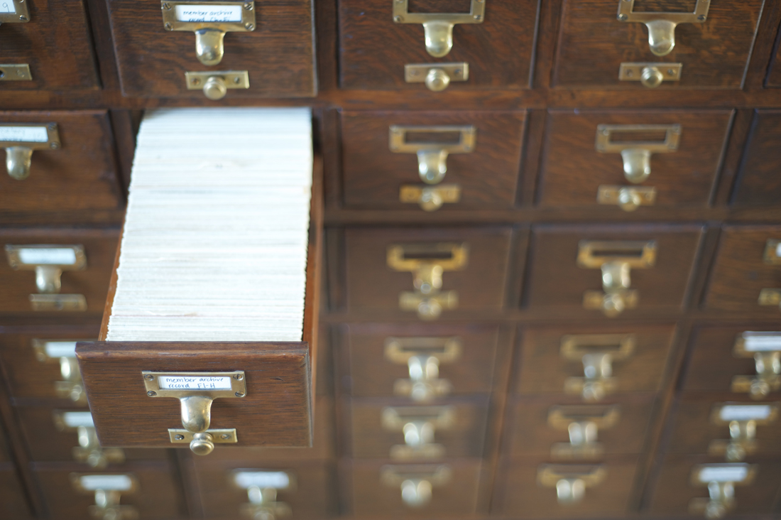 Card catalogue of members in the Society of California Pioneers' research library