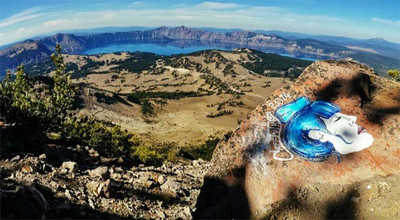 Casey Nocket's acrylic painting near Oregon's Crater Lake. SFist took this screenshot of her Instagram account before it was removed.