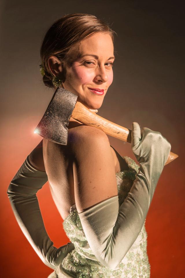 Roxanne RedMeat in Thrillpeddlers' Shocktoberfest 15: The Bloody Débutante; photo by David Allen