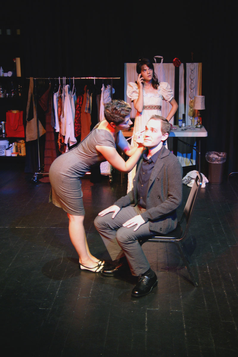 Kat Bushnell, Brandice Thompson and Justin Gillman in No Nude Men Productions' Pastorella.