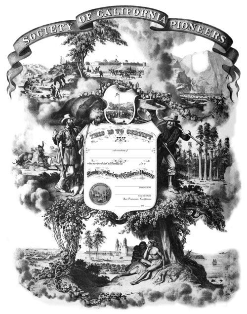 Membership certificate from the Society of California Pioneers
