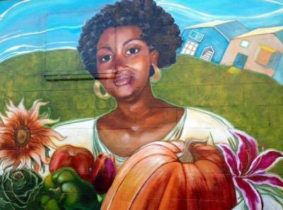 Mural at Third and Palou by artist Bryana Fleming