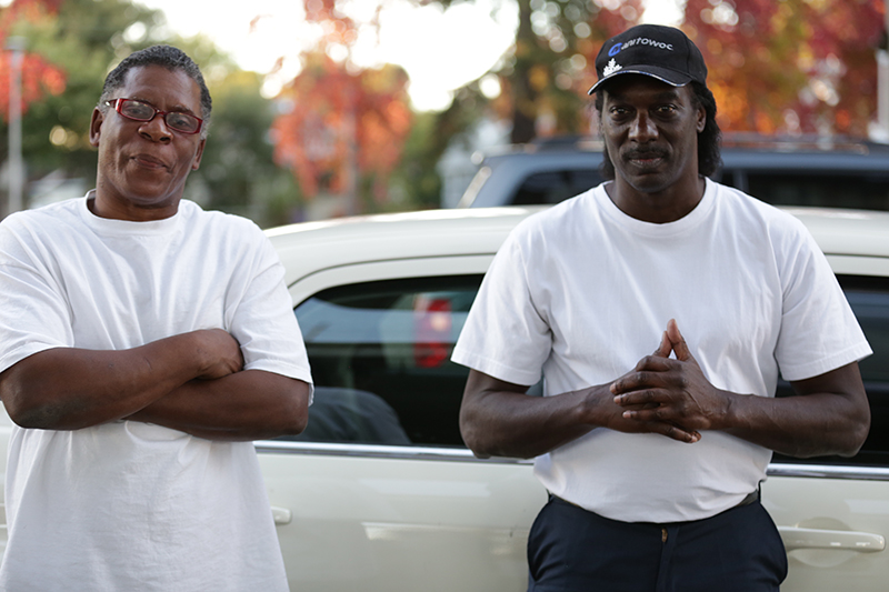 "Steven Wayne Harris and Charles ""Chuck"" Powell (left to right) are members of The Black Messengers, an East Oakland institution of dance. Pioneering local boogaloo styles, the Messengers remain active in Bay Area circles and beyond."