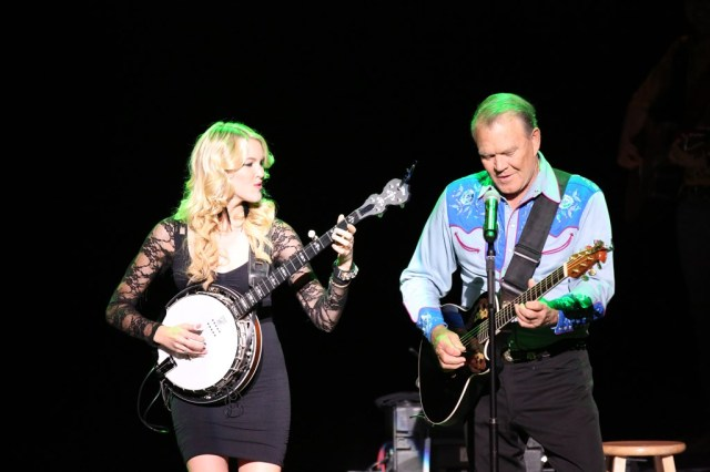 "Ashley Campbell and Glen Campbell performing together on ""The Goodbye Tour,"""