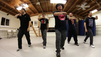 "Sal ""Doc Lock"" Barcena rehearses with his group, the GrooveMekanex, in preparation of the 16th Annual Hip Hop Dance Festival."