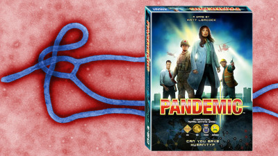 A colorized transmission electron micrograph of the Ebola virus and Pandemic board game; courtesy  the CDC and Z-Man Games.