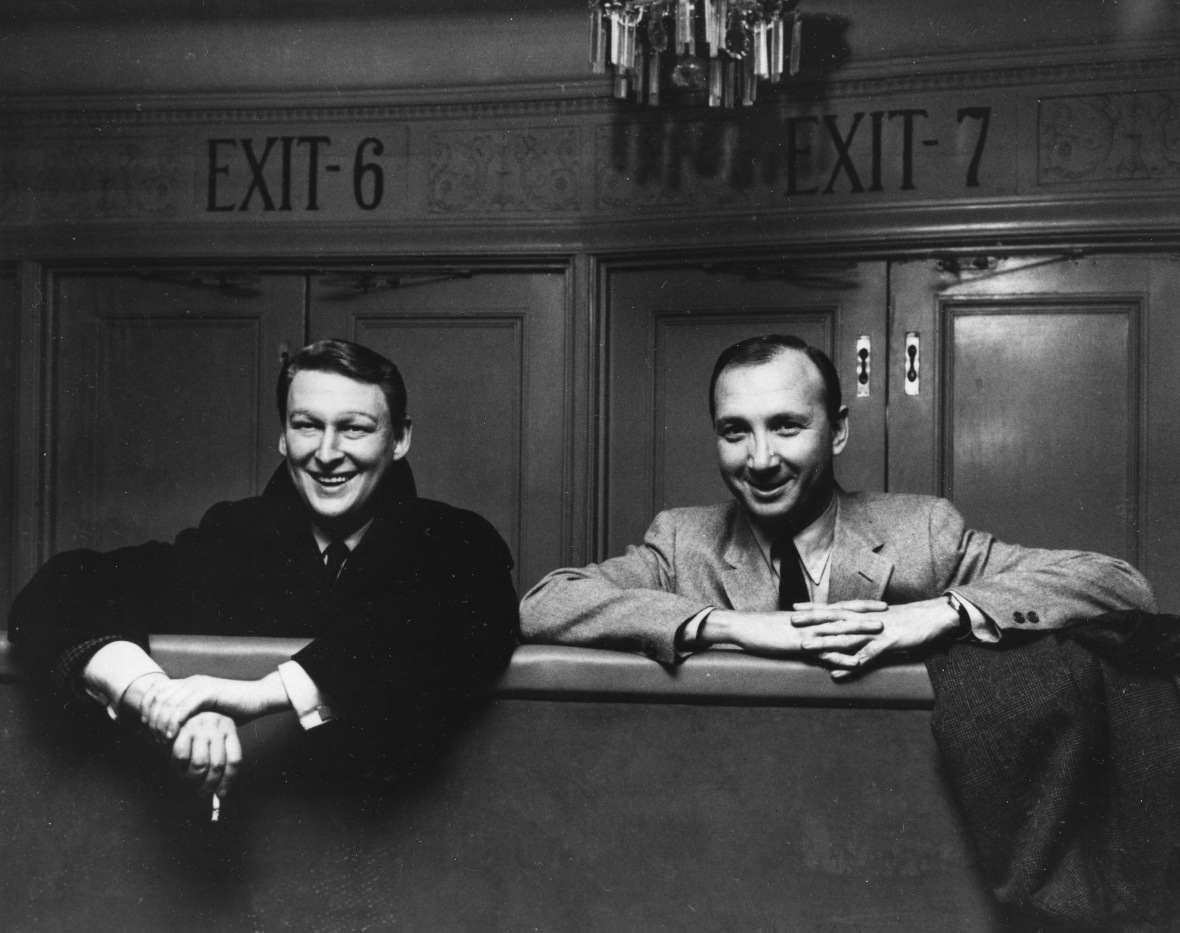 Nichols (left) and playwright Neil Simon pose together after a show rehearsal in March 1968 in New York City.
