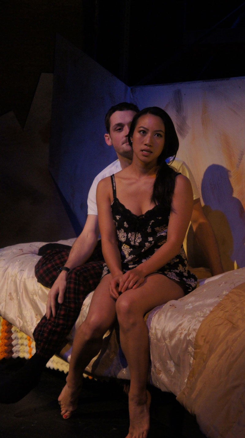 Mitch (Sam Bertken) tries to appease girlfriend Noreen (Grace Ng) in foolsFURY's Faulted.