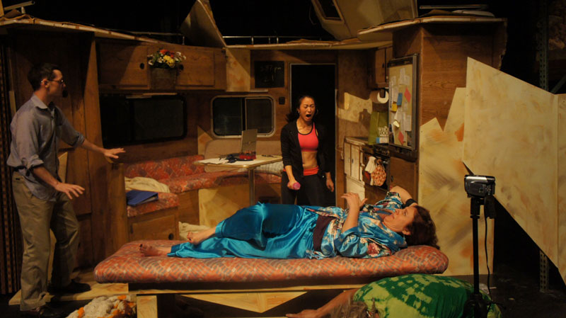 Sam Bertken, Grace Ng and Debórah Eliezer in foolsFURY's Faulted.