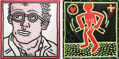 Keith Haring, Untitled (Self-Portrait), 1985 and Keith Haring, Untitled, 1982; c. Keith Haring Foundation