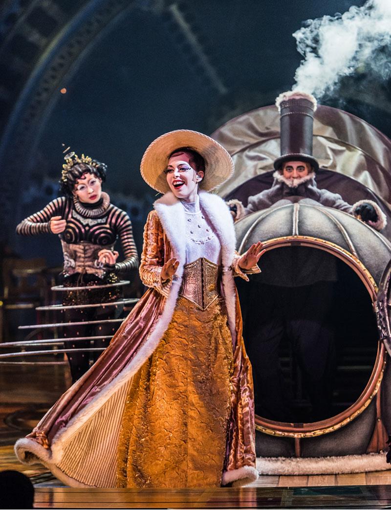 Klara the Telegraph of the Invisible (Ekaterina Pirogovskaya) and percussionist Christa Mercey in Cirque du Soleil's Kurios—Cabinet of Curiosities.