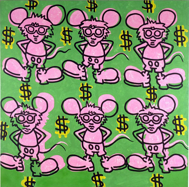 Keith Haring, Andy Mouse, 1985; c. Keith Haring Foundation