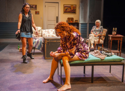 Avery (Nicole Javier) and Alice (Lilain Bogovich) try to talk Catherine (Marilee Talkington*) out of the relationship doldrums in Aurora Theatre Company's Rapture, Blister, Burn; photo: David Allen.