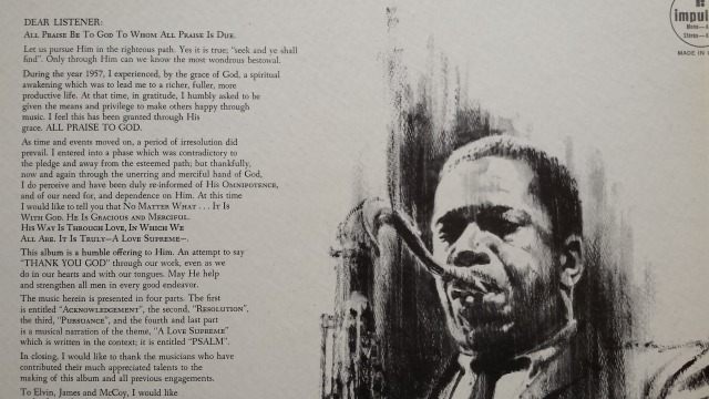 Coltrane's liner notes from the 1965 album A Love Supreme