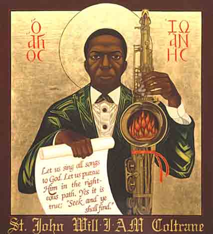 A painting of John Coltrane from the Saint John Coltrane African Orthodox Church