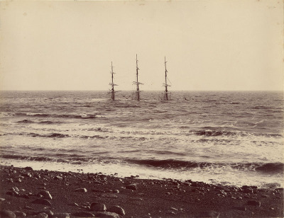 Unknown photographer,  Sunken three-masted ship, c1870; Courtesy The Archive of Modern Conflict and Pier 24 Photography, San Francisco