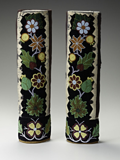 Unknown artist. Pair of leggings, 1890-1900; cloth and glass beads. Courtesy of the Cantor Arts Center.