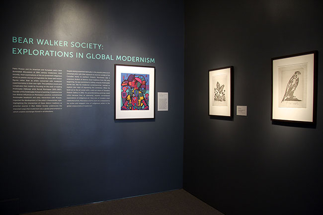 Installation view, Bear Walker Society: Explorations in Global Modernism, 2014; Courtest of Cantor Arts Center.
