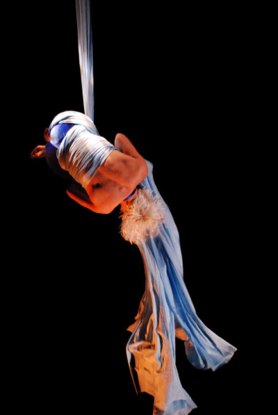 Sweet Can co-founder Kerri Kresinski performs an aerial silk act. Photo courtesy of Sweet Can Productions.