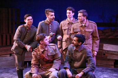 Nik Duggan, Jacob Marker, Drew Benjamin Jones, Max Sorg, Danraj Rajasansi and Jeremy Ryan as German and English soldiers in Truce: A Christmas Wish from the Great War at City Lights Theater Company. Photo by Richard Mayer Photo.