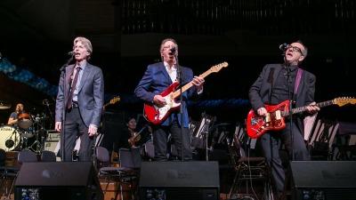 Lars Ulrich, Phil Lesh, Elvis Costello and Boz Scaggs (L-R) perform at Davies Symphony Hall. (Photo: © Moanalani Jeffrey Photography)