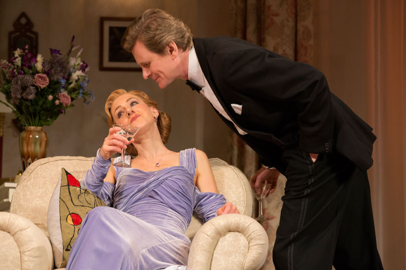 Charles (Charles Edwards) enjoys frosty marital bliss with wife Ruth (Charlotte Parry) in Blithe Spirit.