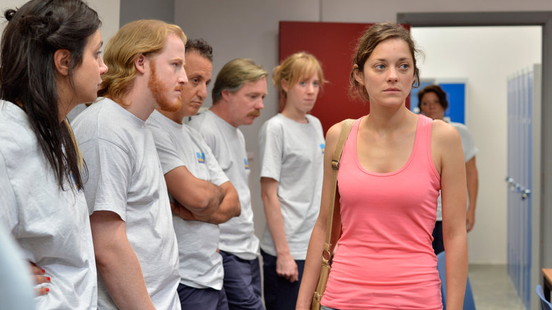 Marion Cotillard is Sandra, who must convince her factory co-workers to vote against giving themselves a bonus in order to preserve her job, in Two Days, One Night.