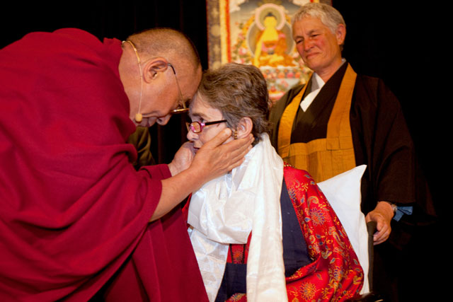 Dr. Grace Dammann with the Dalai Lama at the Unsung Heroes of Compassion award ceremony in 2009. Dammann was honored for her work as the co-founder of one of San Francisco's first HIV/AIDS clinics for poor people during the disease's deadliest era.