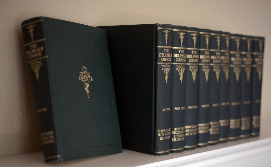 The ten volumes of the Delphian Course of Reading, 1913 (Photo: Adrienne Blaine)