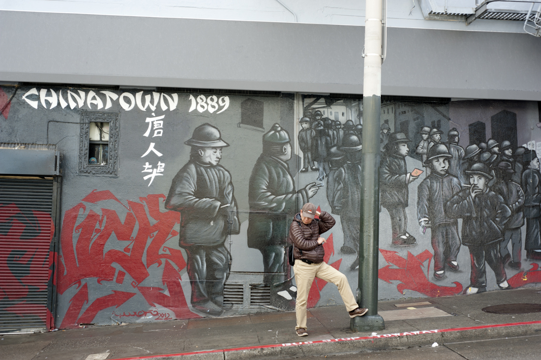 A mural in Chinatown depicting life in 1889