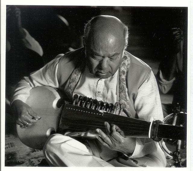 The late sarod master Ali Akbar Khan in performance