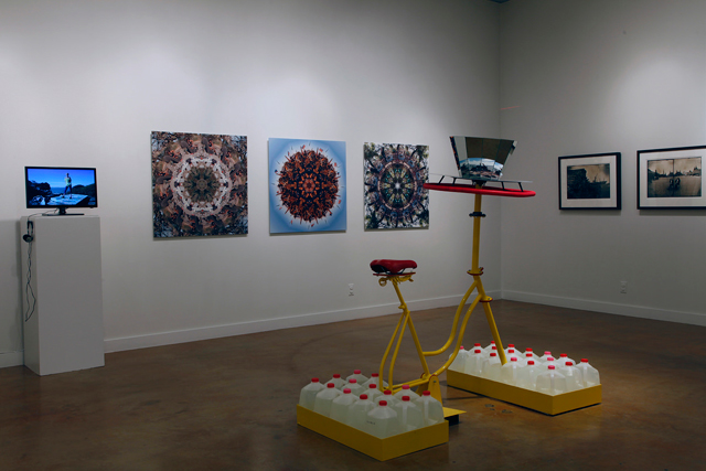 Zoetrope Bike Sculpture and Mandalas at Refuge in Refuse. (Judith Leinen and Robin Lasser with former resident Tamara Robinson)