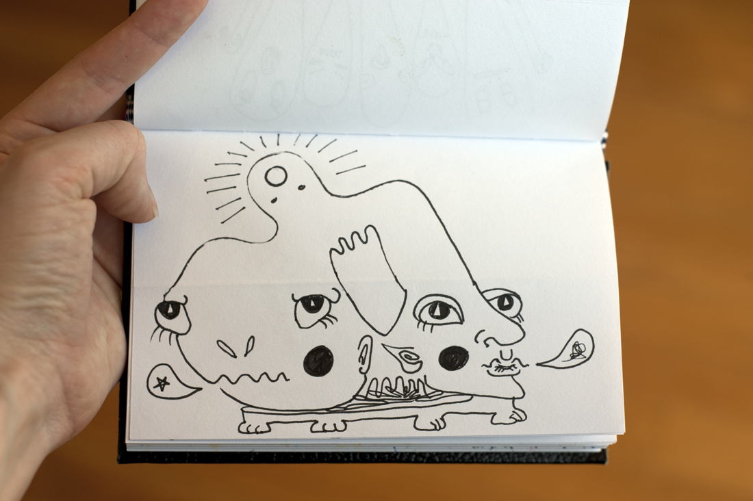 An Exquisite Corpse from my sketchbook. (Photo: Adrienne Blaine)