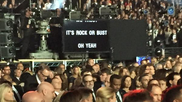 AC/DC: reading from a TelePrompter for their ho-hum opening. (Photo: @THRMattBelloni)