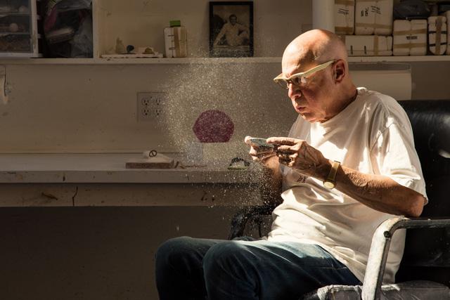 Ron Nagle in his ceramics studio , 2014. (Photo: William Pruyn)