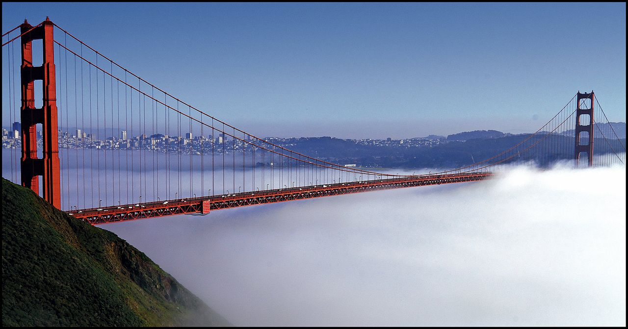 Golden Gate enveloped by fog. Wikimedia Commons.