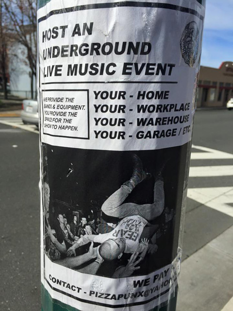 A Pizza Punx flyer asking for use of unconventional venues. (Photo: Jake Bayless)