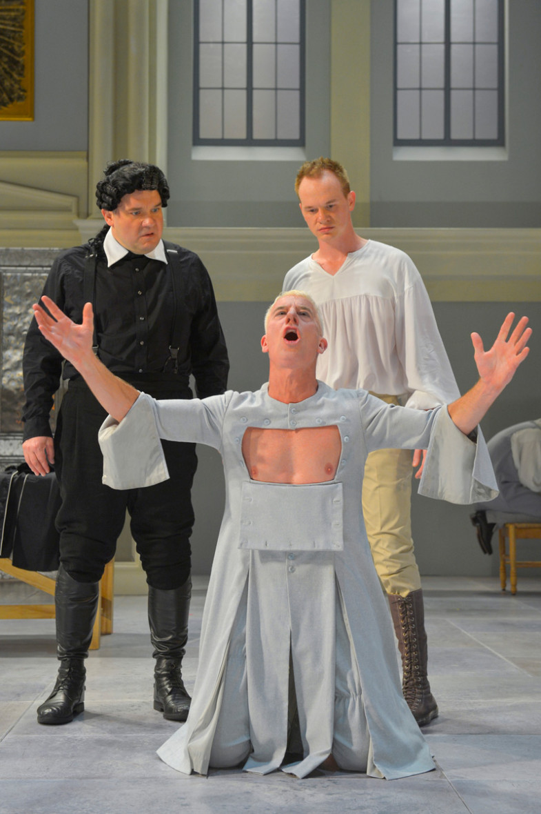 Orgon (Luverne Seifert) and his son Damis (Brian Hostenske) marvel at Tartuffe (Steven Epp) in Molière's Tartuffe at Berkeley Rep. (Photo courtesy of kevinberne.com)