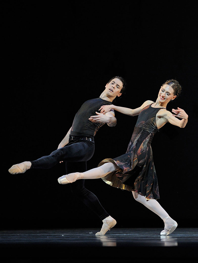 "Sarah Van Patten and Carlos Quenedit cavort uncomfortably in of Alexei Ratmansky's ""Shostakovich Trilogy."""