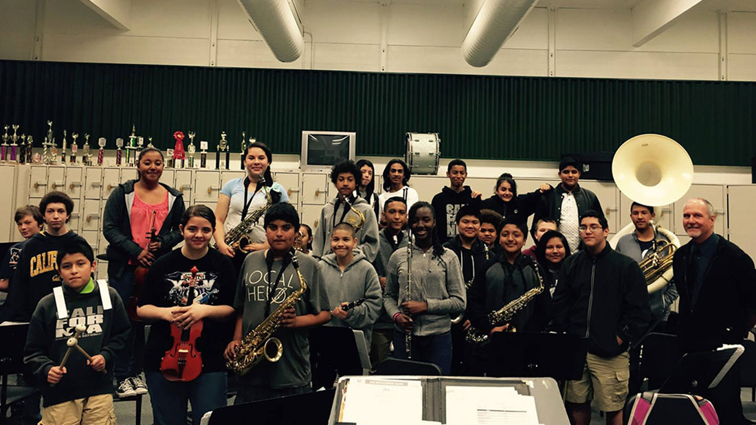 The current band class at Cook Middle School, with band director Mark Mayer at right. (Photo: Darwin Meiners)