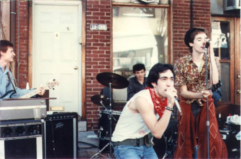 The Dead Milkmen playing one of their first shows in Philadelphia back in 1983. Jon Wurster (Superchunk, Mountain Goats, Bob Mould) is singing backup and wearing chaps. (Courtesy of the Dead Mlikmen)