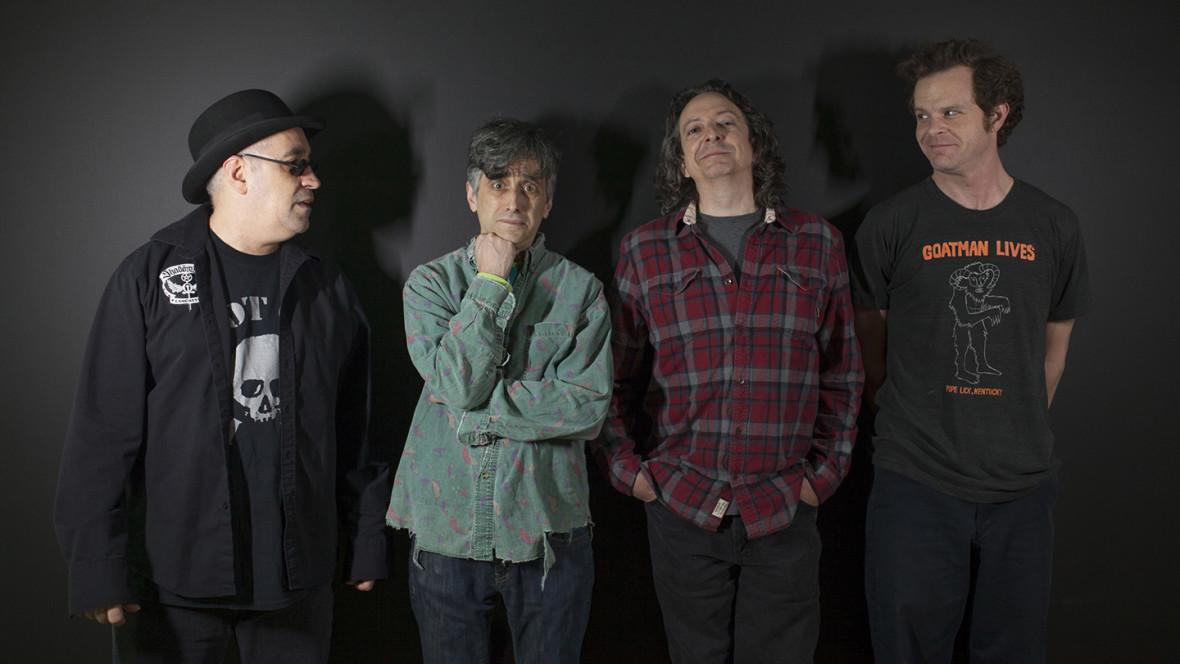 "The Dead Milkmen, left to right: Rodney Anonymous, Joe Jack Talcum, Dean Clean and ""Dandrew"" Stevens. (Photo by Jessica Kourkounis)"