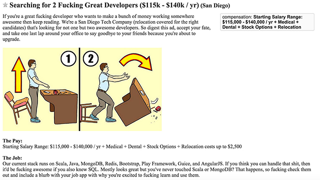 Snippet of Paul Koch's Craigslist ad (Courtesy of Packard Jennings)