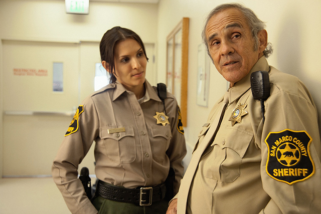 At right, Pepe Serna as Sheriff Paul del Moral in Man from Reno.